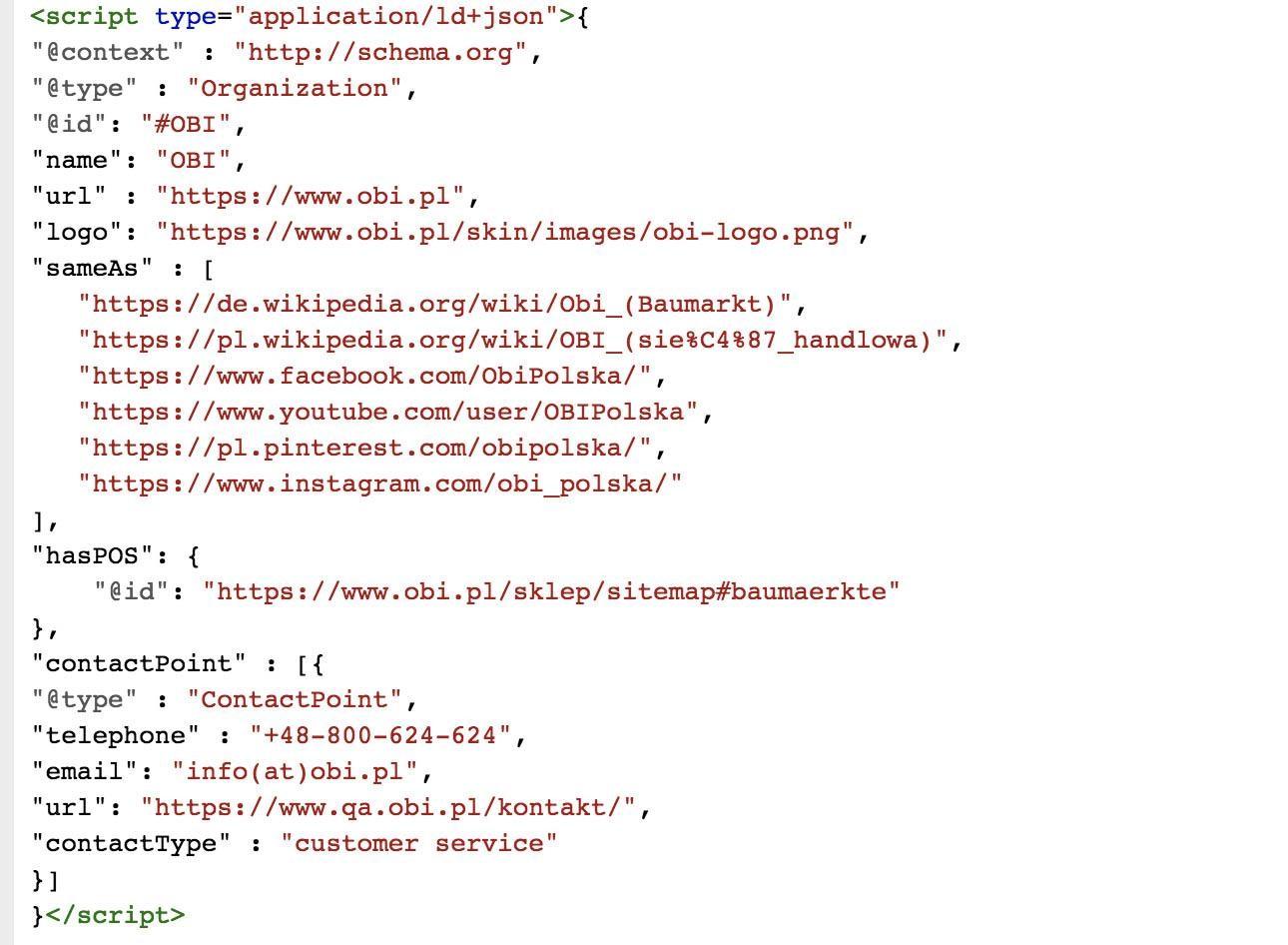 Implementacja danych w kodzie strony