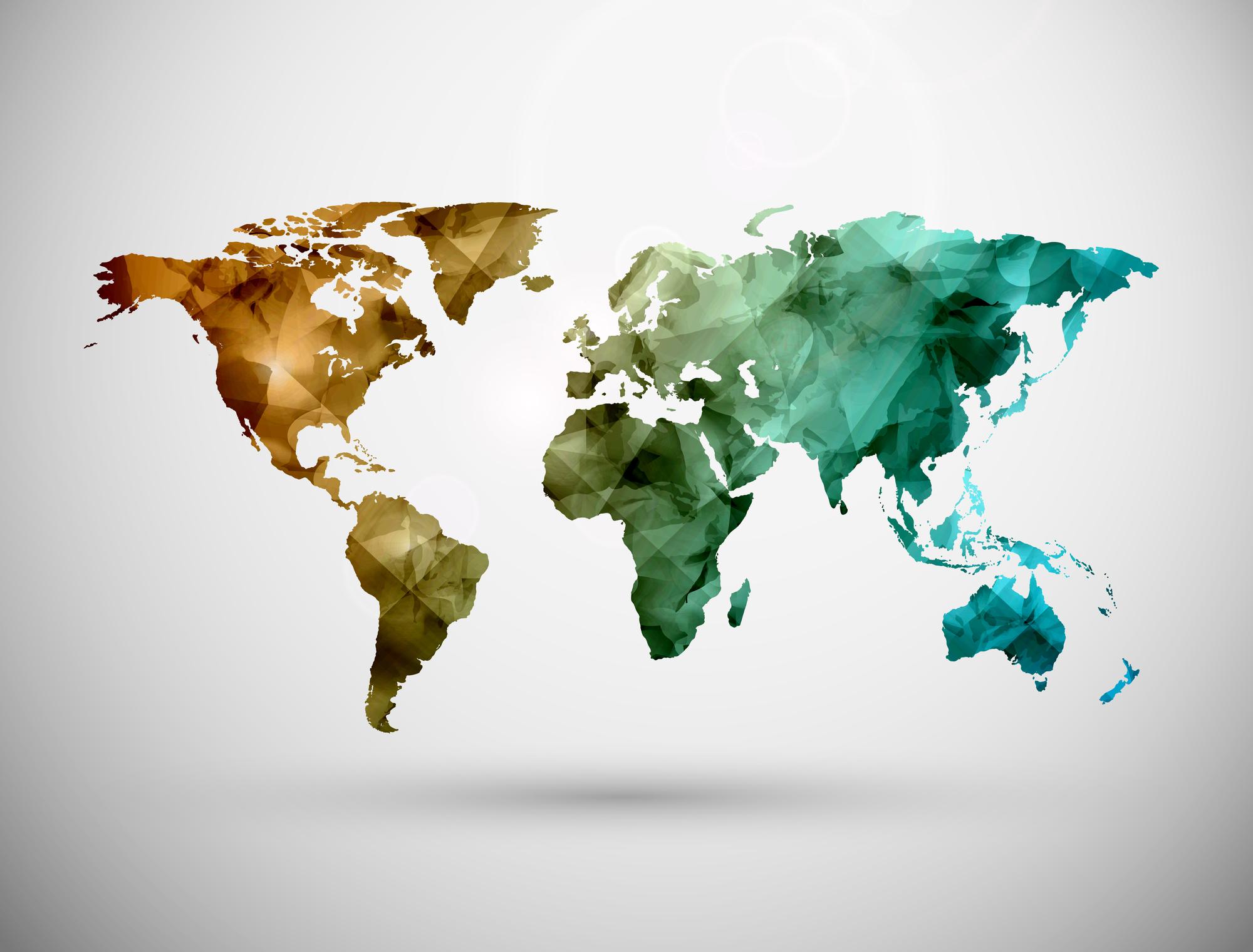 mapa swiata, przesylki miedzynarodowe