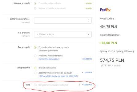 Weryfikacja stref doręczeń odległych TEO, zamówienie FedEx