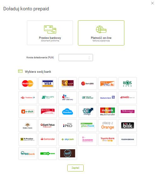doładuj konto prepaid