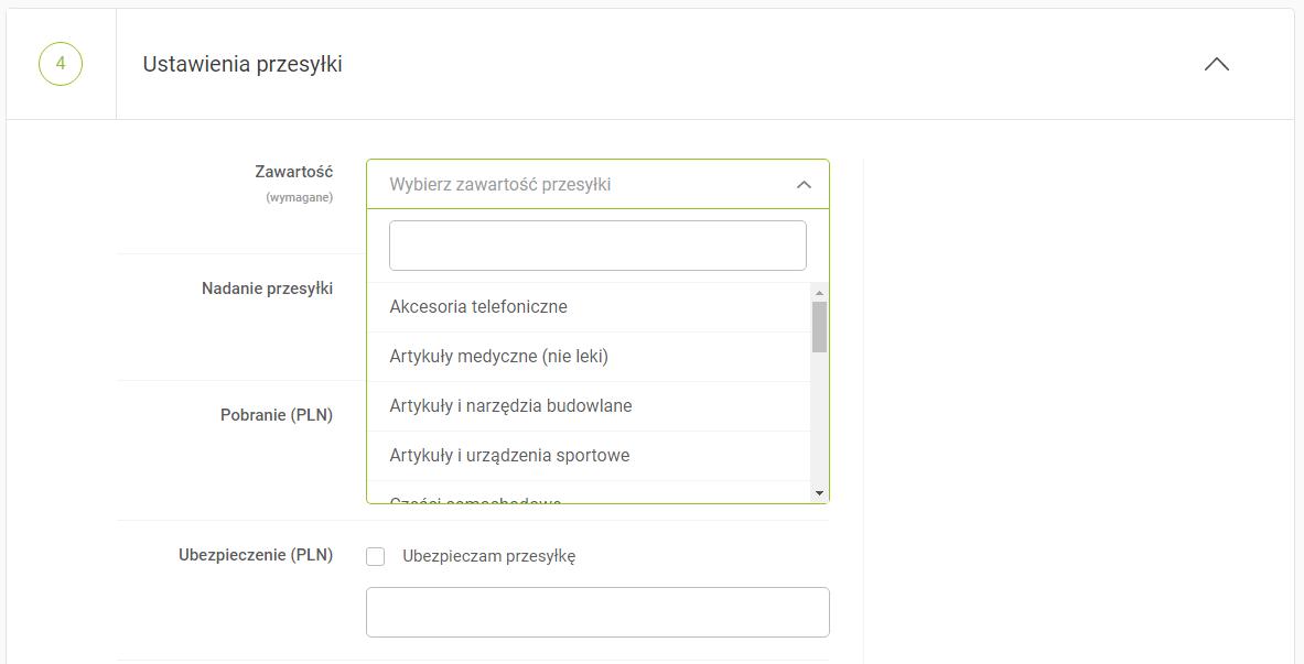 Formularz zamówienia GlobKurier, ustawienia przesyłki - zawartość przesyłki