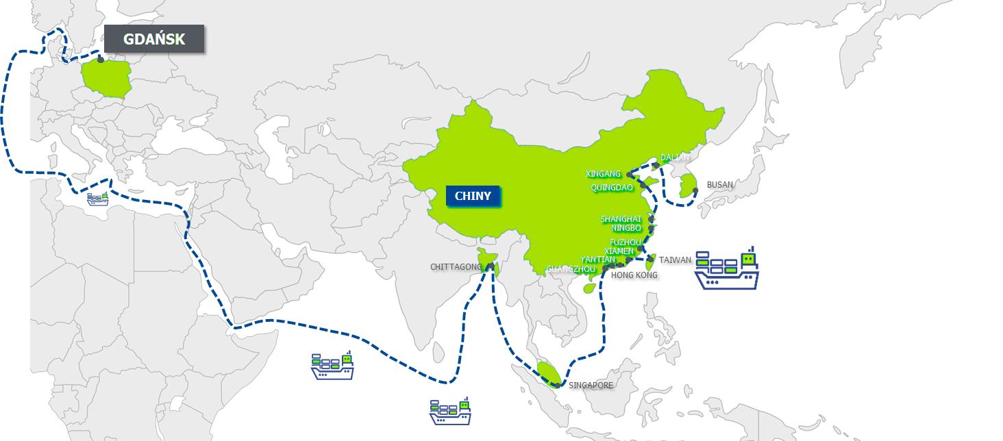 import do Azji, import frachtem morskim, fracht morski, mapa frachtu morskiego